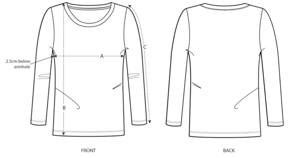 Women's Long Sleeve T-Shirt Size Chart