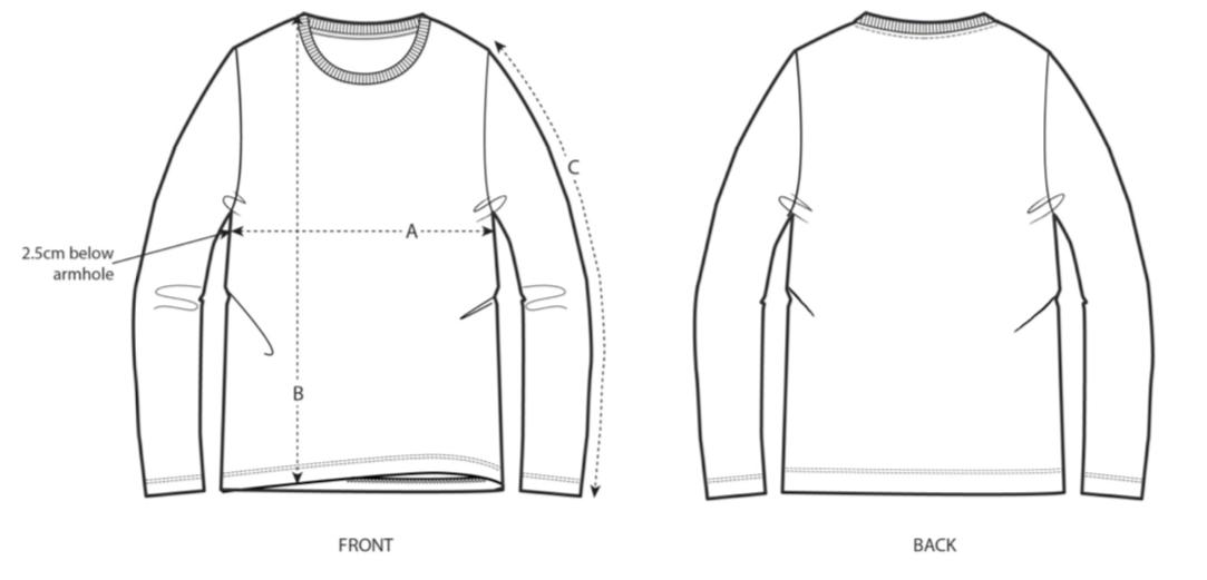 Unisex Long Sleeve T-Shirt Size Chart