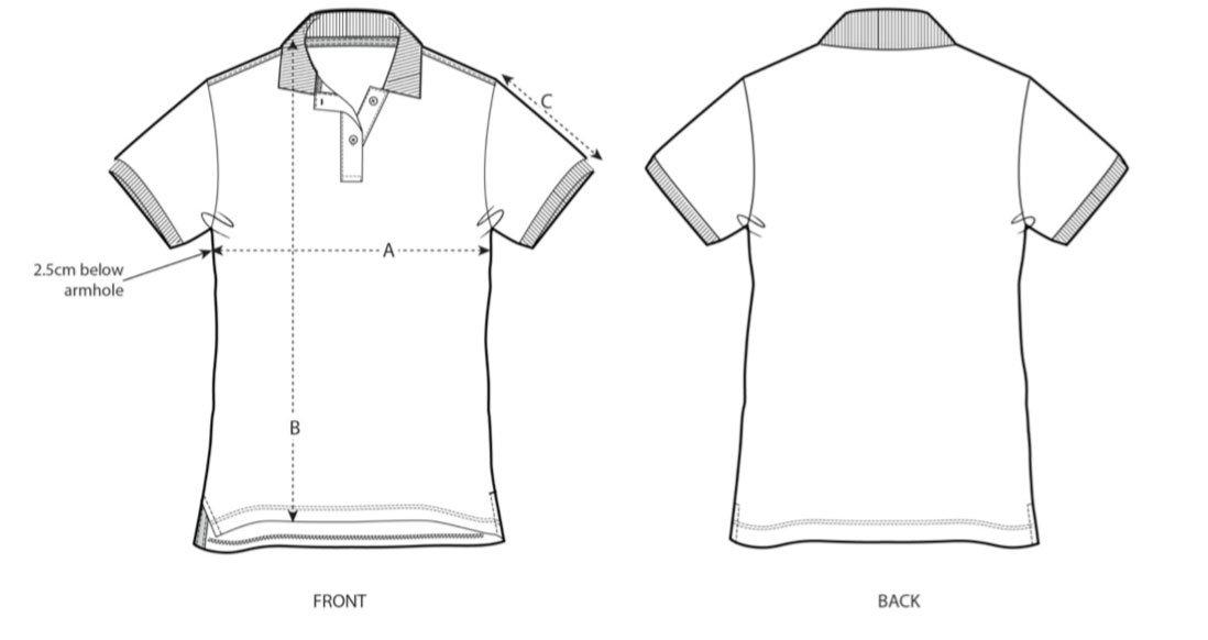 Women's Polo Shirt Size Chart