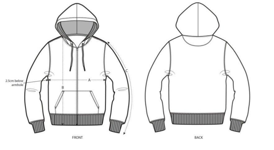 Zip Hoodie Size Chart