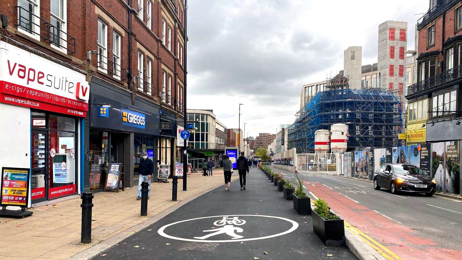Pinstone Street Social Distancing Measures, October 2020