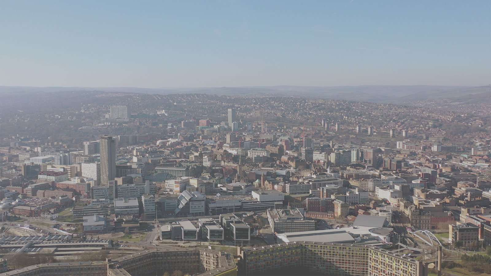 Sheffield City Centre from over Skye Edge
