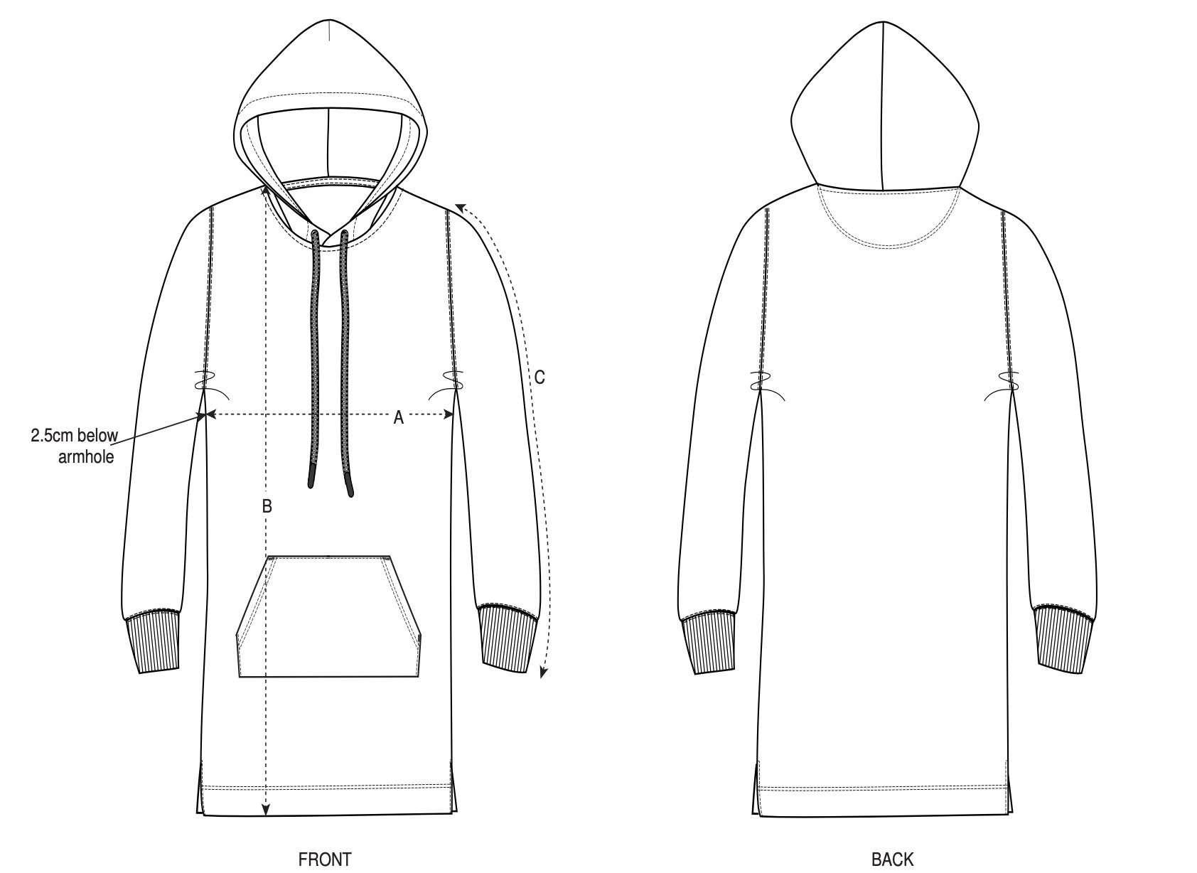 Hoodie Dress Size Chart