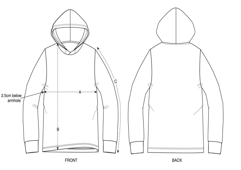 Unisex Long Sleeve Hooded T-Shirt Size Chart