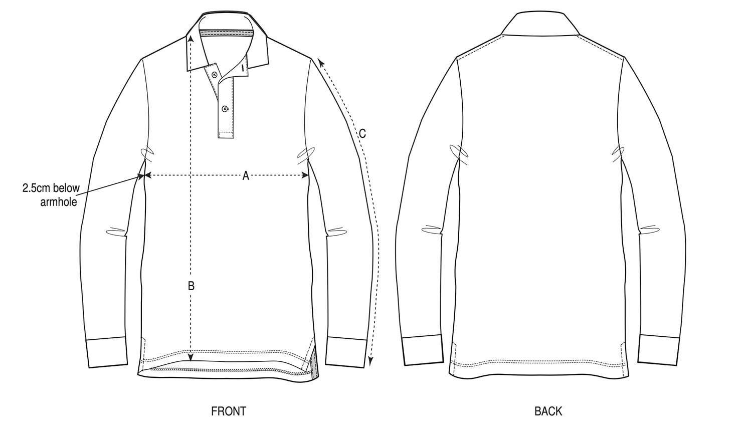 Unisex Long Sleeve Polo Shirt Size Chart