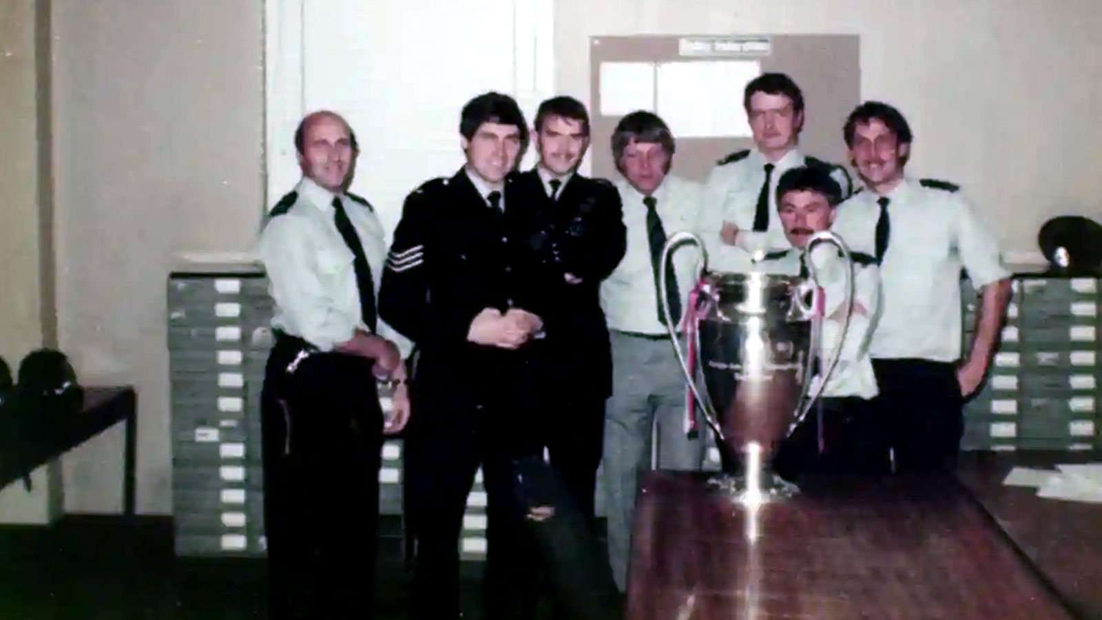 South Yorkshire Police officers pose for photo with stolen European Cup