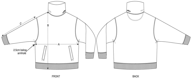 Unisex High Neck Pocketed Sweatshirt